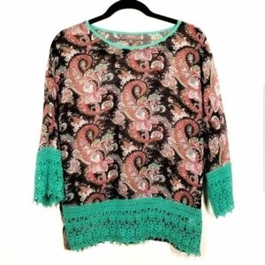 UMGEE Paisley Floral Crochet Popover Top Women's S